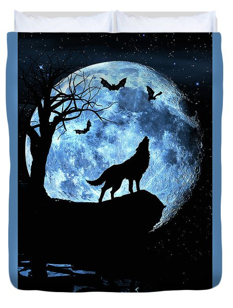 Duvet Cover featuring the photograph Wolf Howling At Full Moon With Bats by Justin Kelefas