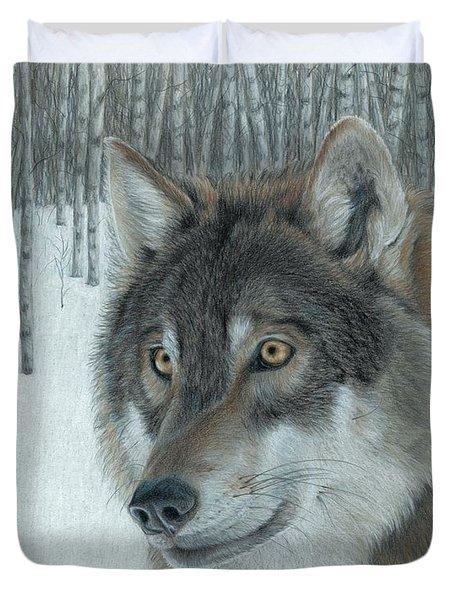 Wolf In Aspens Duvet Cover