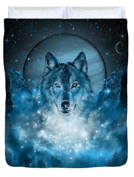 Wolf In Blue Duvet Cover