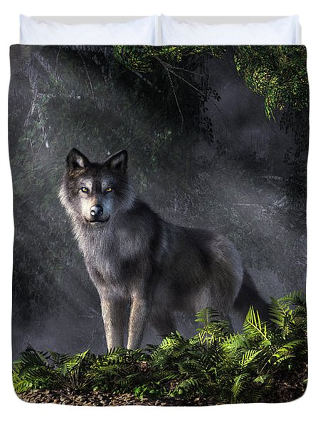 Wolf In The Forest Duvet Cover