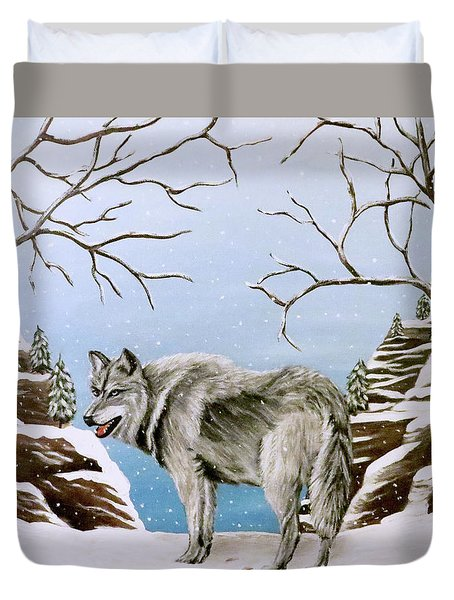Duvet Cover featuring the painting Wolf In Winter by Teresa Wing