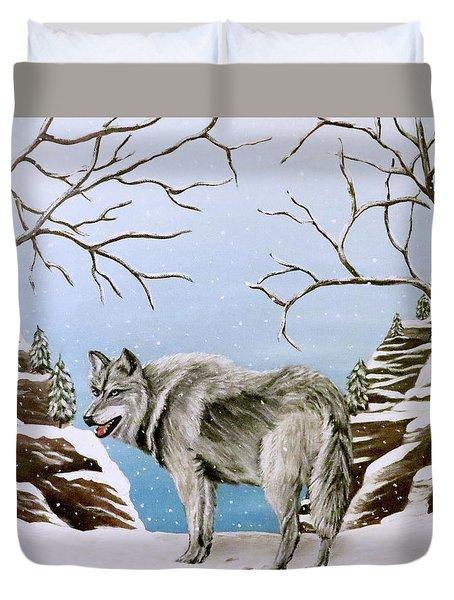 Wolf In Winter Duvet Cover