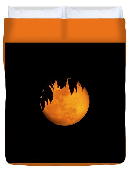 Duvet Cover featuring the photograph Wolf Moon by Mark Andrew Thomas