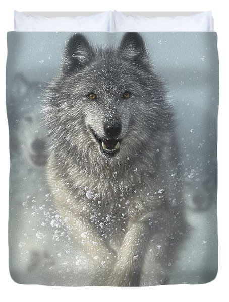Wolf Pack Running - Snow Plow Duvet Cover