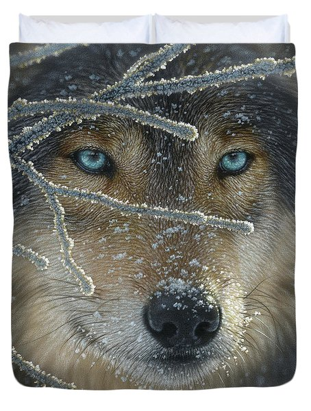 Wolf Portrait - Fire In Ice Duvet Cover