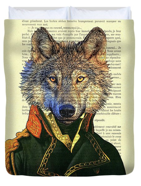Wolf Portrait Illustration Duvet Cover