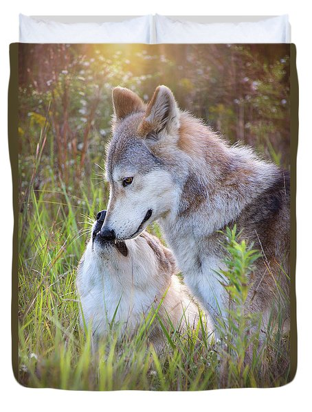 Wolf Soul Mates Duvet Cover