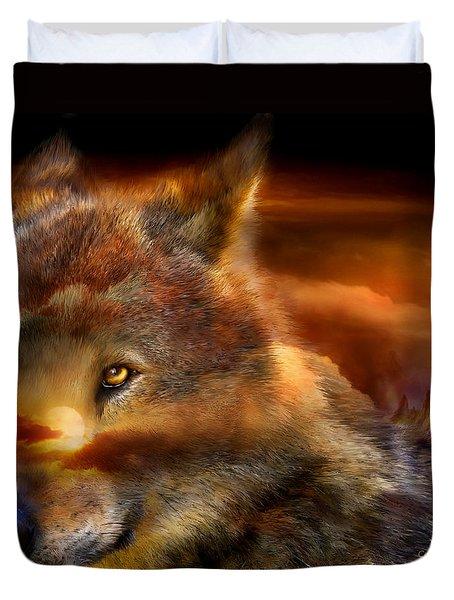 Wolfland Duvet Cover by Carol Cavalaris