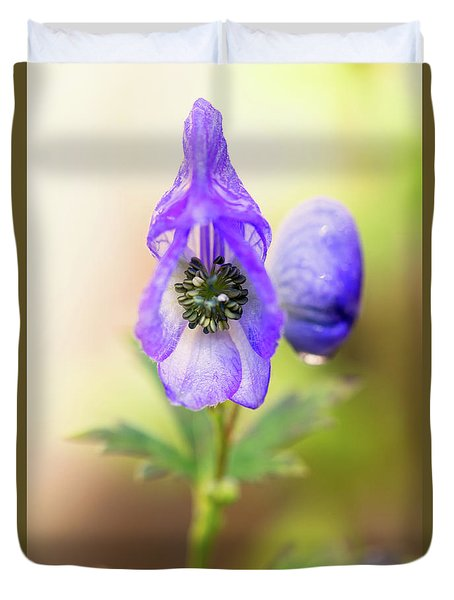 Duvet Cover featuring the photograph Wolf's Bane Flower Plant by Nick Biemans