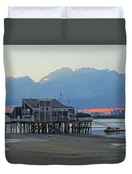 Wollaston Beach Quincy Ma Sunset Boston Skyline Quincy Ma Duvet Cover