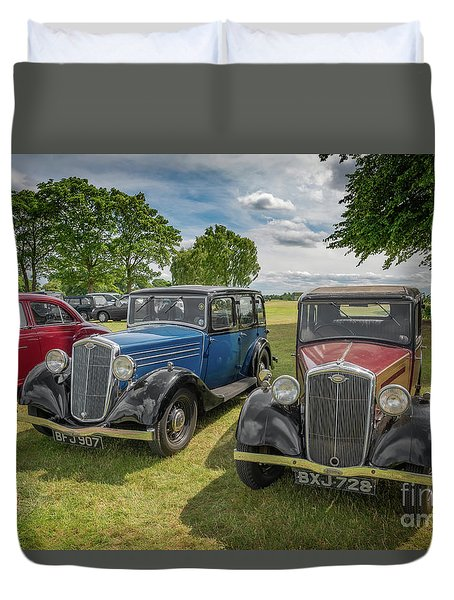 Duvet Cover featuring the photograph Wolseley Motors by Adrian Evans