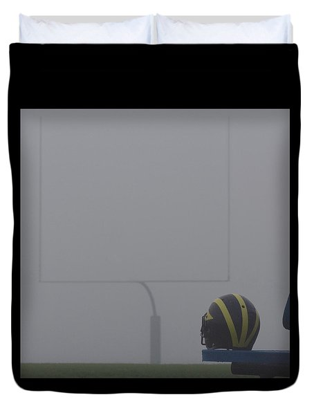 Wolverine Helmet In Heavy Morning Fog Duvet Cover