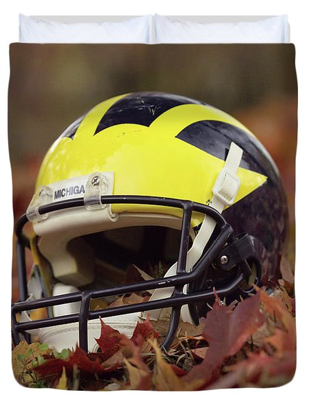 Wolverine Helmet In October Leaves Duvet Cover