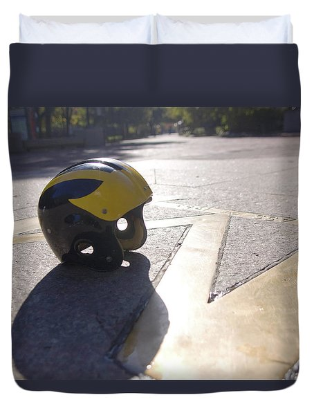 Wolverine Helmet On The Diag Duvet Cover