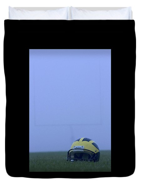 Wolverine Helmet On The Field In Heavy Fog Duvet Cover