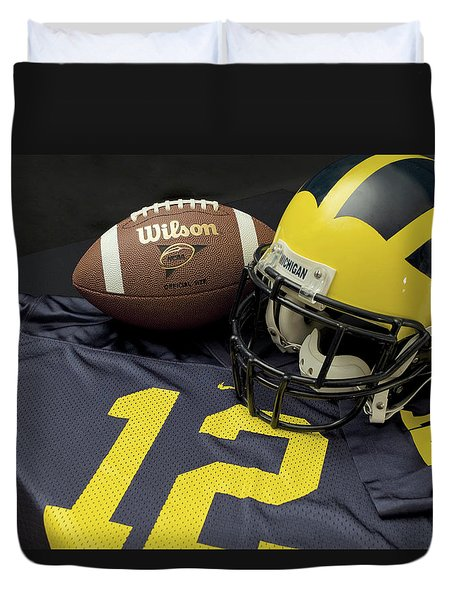 Wolverine Helmet With Football And Jersey Duvet Cover