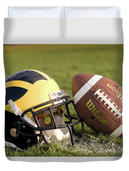Wolverine Helmet With Football On The Field Duvet Cover