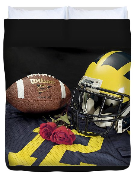 Wolverine Helmet With Roses, Jersey, And Football Duvet Cover