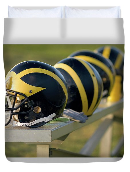 Wolverine Helmets On A Bench Duvet Cover