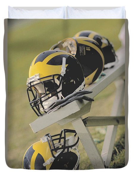 Wolverine Helmets On A Football Bench Duvet Cover