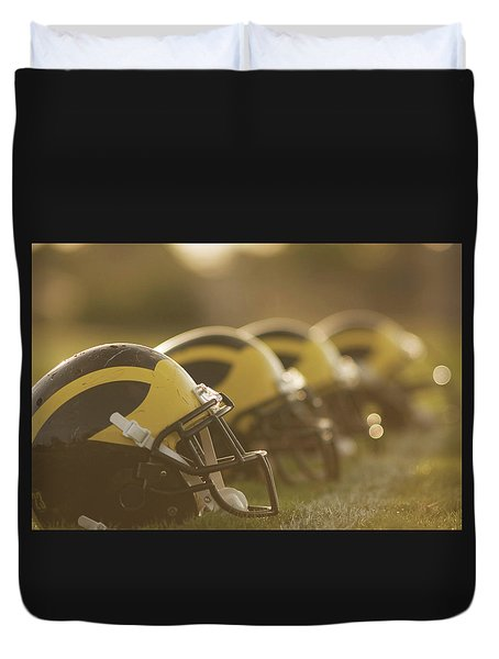 Wolverine Helmets Sparkling In Dawn Sunlight Duvet Cover
