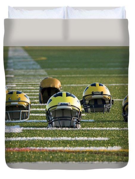 Wolverine Helmets Throughout History On The Field Duvet Cover