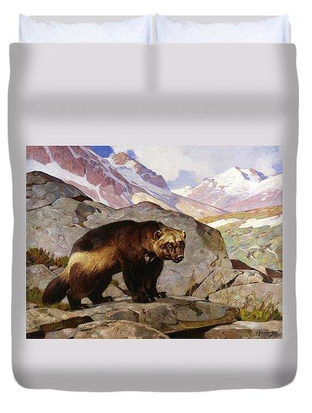 Wolverine In A Rocky Mountain Landscape, Alberta Duvet Cover