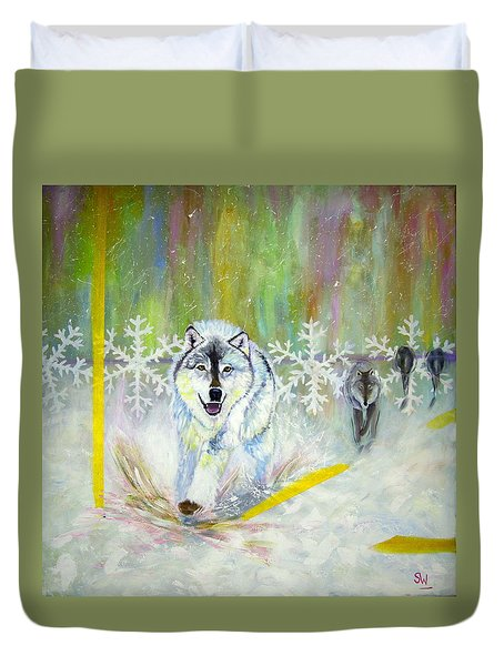 Wolves Approach Duvet Cover