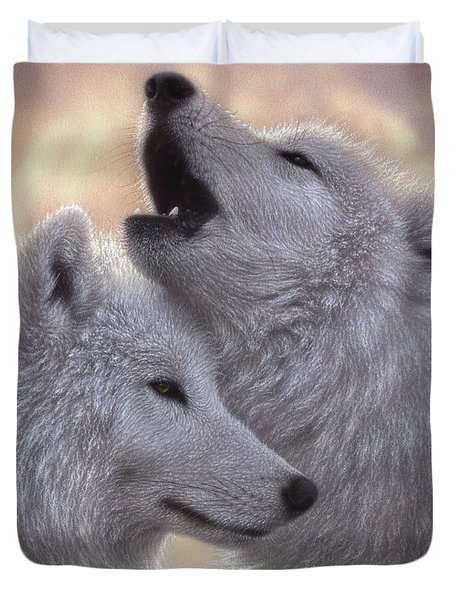 Wolves Howling Moon - Love Song Duvet Cover