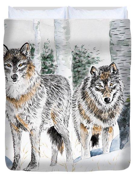 Wolves In The Birch Trees  Duvet Cover