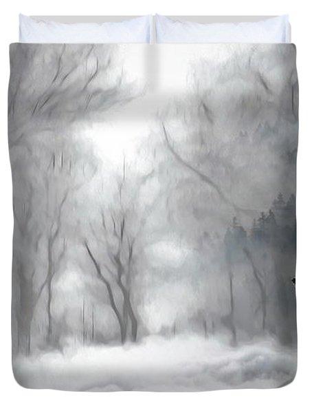 Wolves In The Mist Duvet Cover