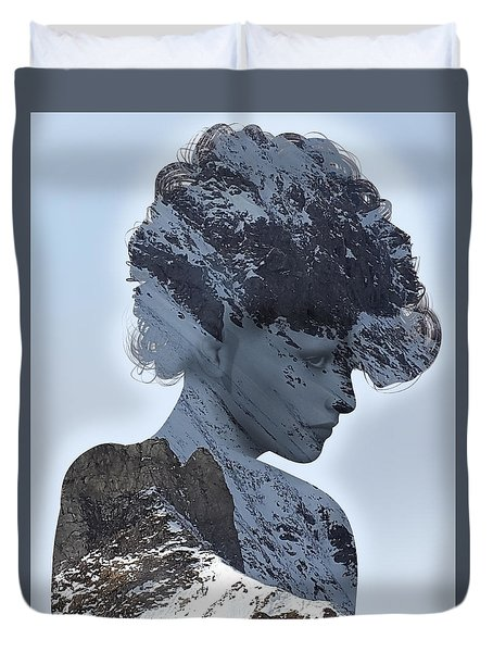 Woman And A Snowy Mountain Duvet Cover
