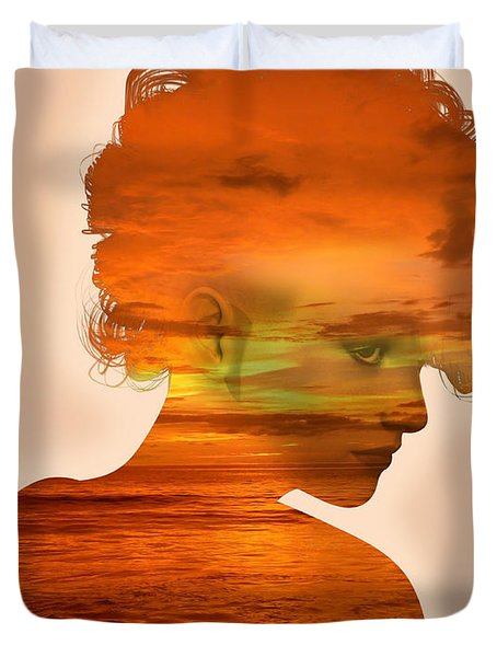 Woman And A Sunset Duvet Cover