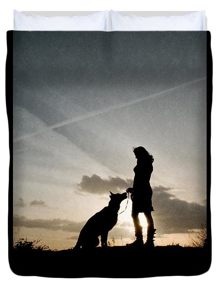 Woman And Dog  Duvet Cover