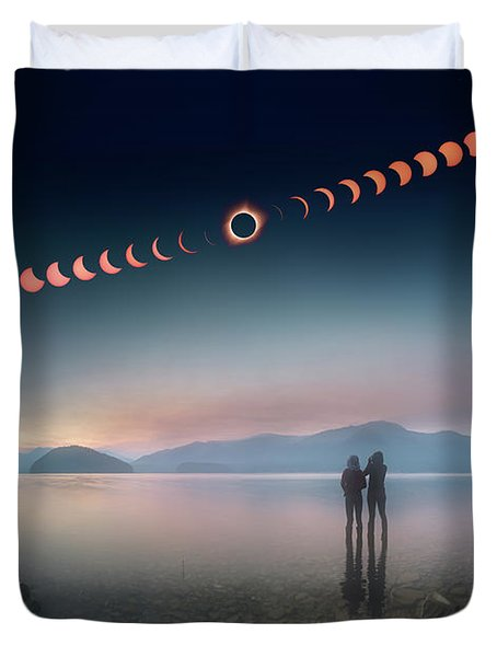 Woman And Girl Standing In Lake Watching Solar Eclipse Duvet Cover