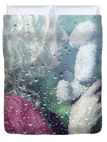 Woman And Teddy Duvet Cover by Joana Kruse