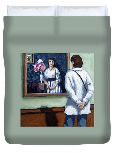 Duvet Cover featuring the painting Woman At Art Museum Figurative Painting by Linda Apple