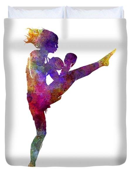 Woman Boxer Boxing Kickboxing Silhouette Isolated 01 Duvet Cover