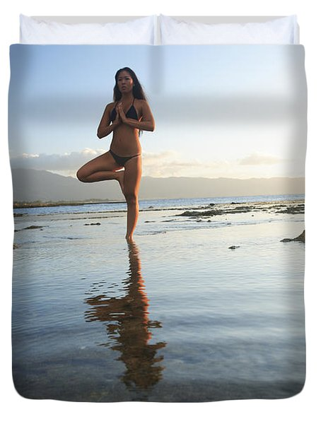 Woman Doing Yoga Duvet Cover by Brandon Tabiolo - Printscapes