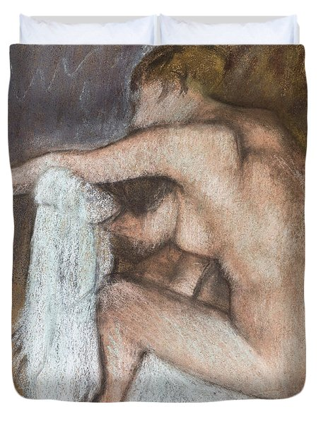 Woman Drying Her Arm Duvet Cover by Edgar Degas
