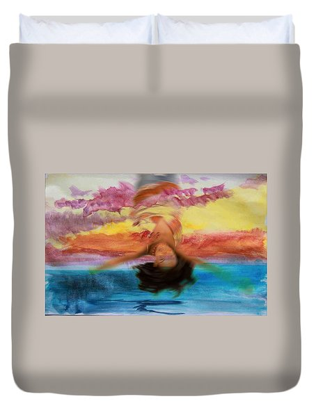 Duvet Cover featuring the photograph Woman Engulfed by Bob Pardue