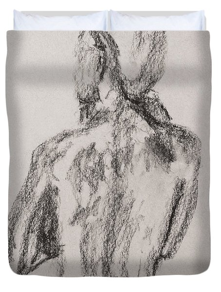 Woman From Behind Duvet Cover