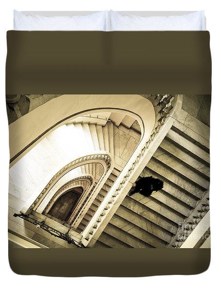 Woman Going Down At Staircase Duvet Cover