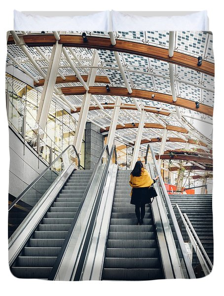 Woman Going Up Escalator In Milan, Italy Duvet Cover
