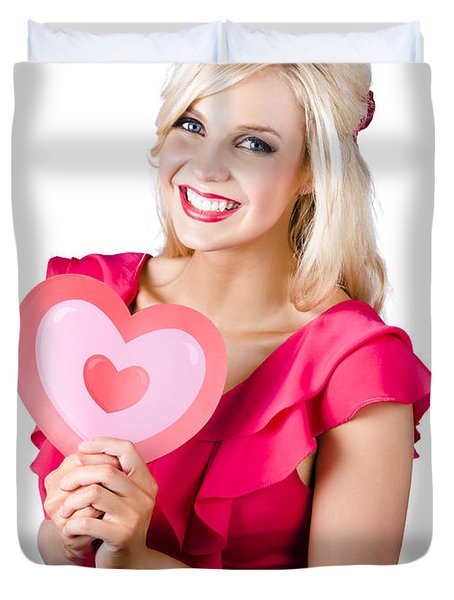 Woman Holding A Pink Heart-shape Duvet Cover