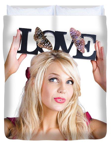 Woman Holding Love Sign Duvet Cover