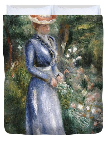 Woman In A Blue Dress Standing In The Garden At Saint-cloud Duvet Cover by Pierre Auguste Renoir