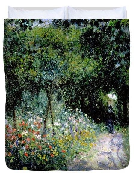 Woman In A Garden Duvet Cover