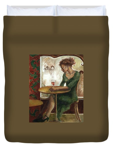 Woman In A Paris Cafe Duvet Cover