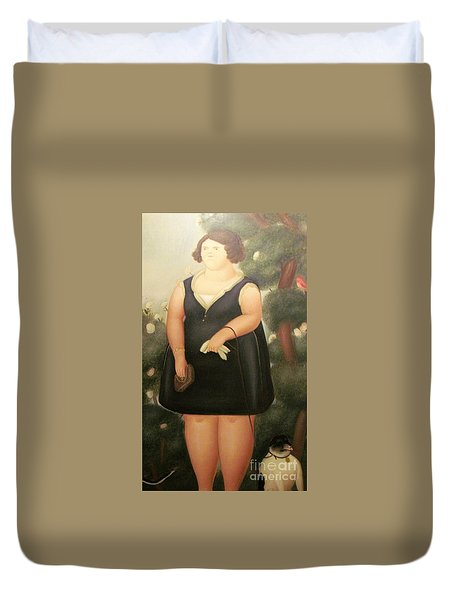 woman in Black Botero Duvet Cover